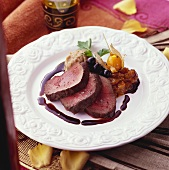 Venison fillet with physalis and olives