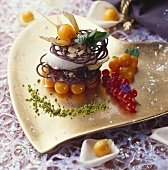 Chocolate tower with physalis