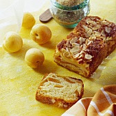 Apricot & almond cake with ingredients