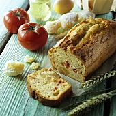 Tomato and ginger loaf with ingredients