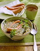 Lentil soup with Frankfurter sausages