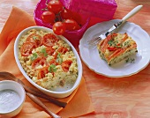 Tomato and couscous bake and sea bass and pepper gratin