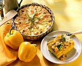 Potato and mango gratin and pepper and sweetcorn bake