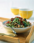 Chick pea salad with tomatoes and cucumber