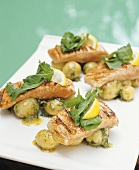 Grilled salmon fillets on dill potatoes