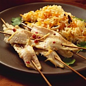 Sole fillet kebabs with pink pepper and rice