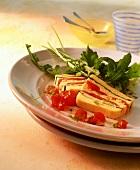 Polenta and tomato terrine with rocket