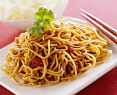 Chinese spicy egg noodles with tomatoes