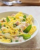 Tagliatelle taccole e limone (Ribbon pasta with mangetout)