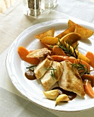 Chicken breast with balsamic sauce, potato wedges & carrots