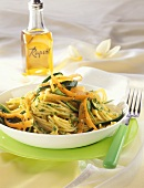 Vegetable spaghetti with parsley pesto; rape seed oil