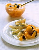 Poppy seed noodles with apricot and plum compote