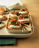 Blinis with salmon tartare and crème fraiche