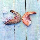 Jumbo prawns, fresh and boiled