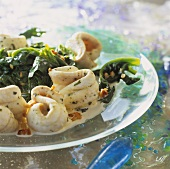 Sole with pine nuts and spinach