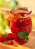 Strawberry jam with lemon balm in jar