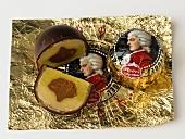 Salzburg Mozartkugeln (chocolates) one cut in half