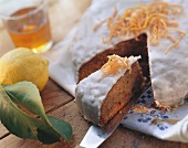 Carrot cake with lemon icing (slices cut)