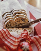 Christmas stollen (slices cut)