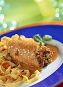 Veal escalope roulades with ribbon pasta