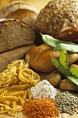 Still life with vegetables, pasta and bread