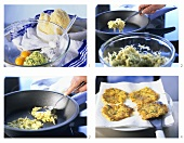 Making potato and courgette rosti
