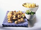 Ingredients for mushroom dishes (e.g. potato & mushroom ragout)