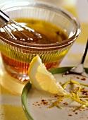 Vinaigrette and lemon sauce with sour cream