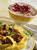 Radicchio sauce with ham; turkey liver sauce on noodles