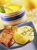 Salmon with lime sabayon, shallot & saffron sauce behind