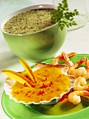 Sweet & sour mango sauce for shrimps & cream & herb sauce