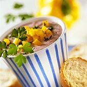 Sweetcorn dip with diced yellow peppers
