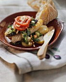 Fish, Majorcan style, with chard and pine nuts; bread