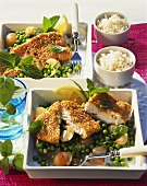Fish fillet in sesame panade with minted peas