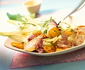 Vegetable salad with chicken and kumquats