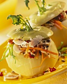 Stuffed kohlrabi with mushrooms, vegetable rice & Parmesan
