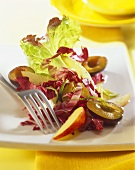 Autumn salad with radicchio, apple and plums