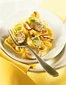 Tagliatelle porro e funghi (Ribbon pasta with leeks & mushrooms)