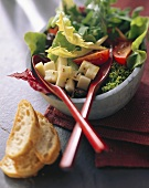 Mixed salad leaves with diced cheese & tomatoes; white bread