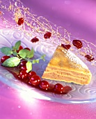 Piece of warm chestnut cake with cranberries & caramel strands