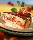 Piece of strawberry tiramisu gateau with trifle sponges