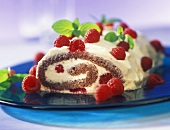 Chocolate roll with raspberries and mint leaves