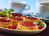 Tartlets with raspberry and lemon balm jam