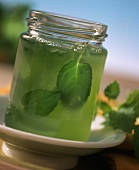 Mint jelly in jam jar