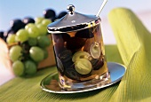 Grape jelly in jar