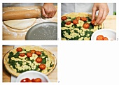 Making pizza with rocket and cherry tomatoes
