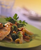 Penne with vegetables, turkey escalopes and cashew kernels