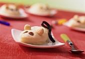 Sweet semolina mice with raisins, almonds & liquorice