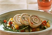 Veal rolls with ratatouille and rosemary