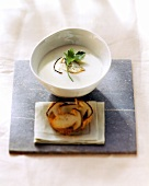 Creamy potato soup with ceps